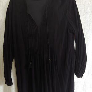 Black Boho Dress with Tassels